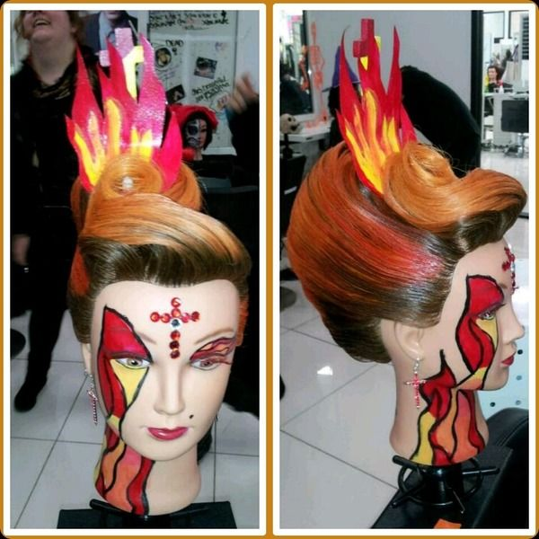 This Is A Hairstyle I Did For Fantasy Hair Compeion At Toni And Guy Hairdressing Academy In Phila My Theme Was Sacred Flames Hope You Guys Enjoy