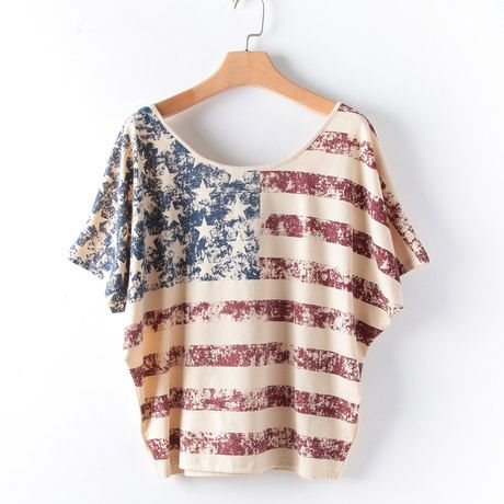Summer new vintage American flag T-shirt printing