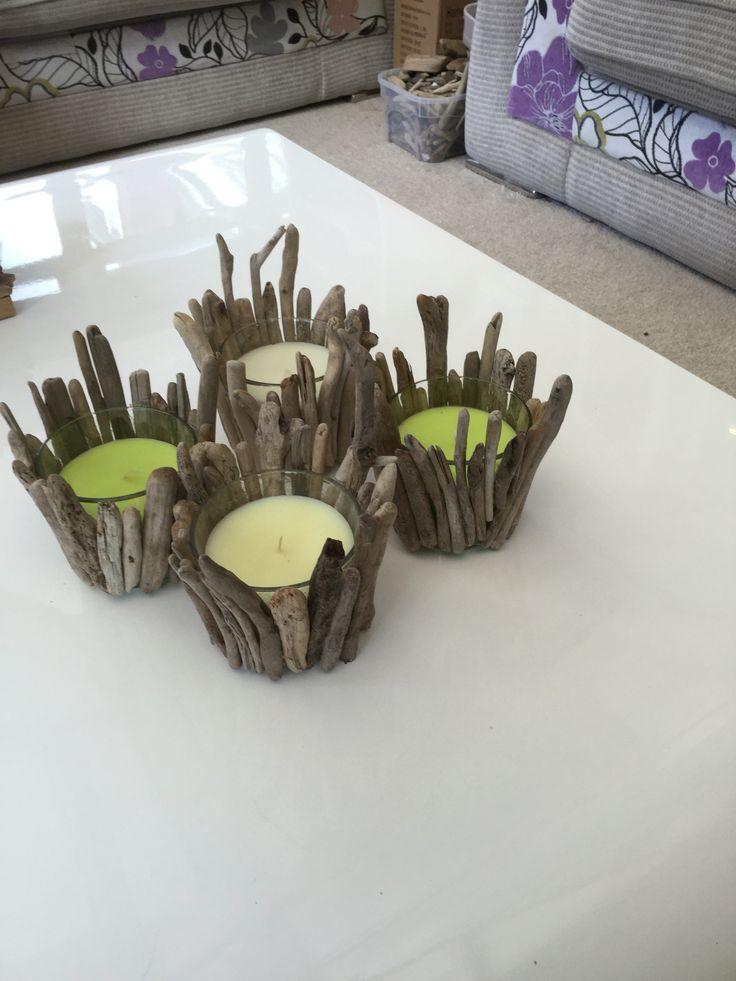 Handmade driftwood candles