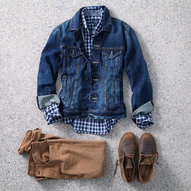 Men's tobacco colored chinos, checkered navy blue shirt, denim jacket