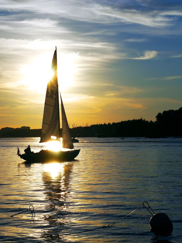 """"""" A wooden Nordic Folkboat sails in the light evening winds"""""""