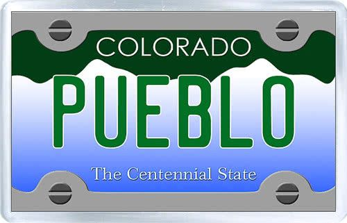 $3.29 - Acrylic Fridge Magnet: United States. License Plate of Pueblo Colorado