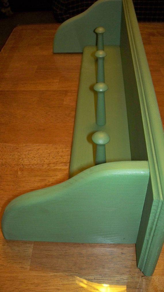 Shaker Peg Wall Shelf Coat Rack Hanger by SonshineWoodProducts