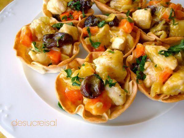 Tan fácil de hacer y tan vistoso: cestas de pollo hechas con obleas de empanadillas