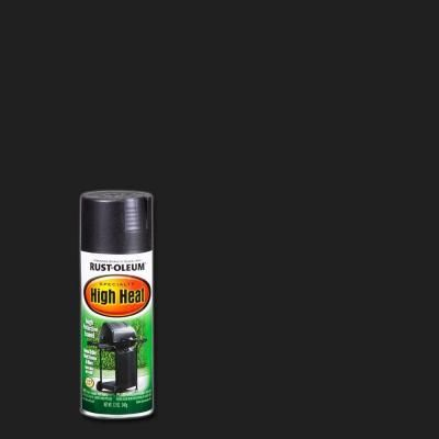 Rust-Oleum Specialty 12 oz. Bar-B-Que Black Satin High Heat Spray Paint-7778830 - The Home Depot -- Paint for the brass fireplace surround.