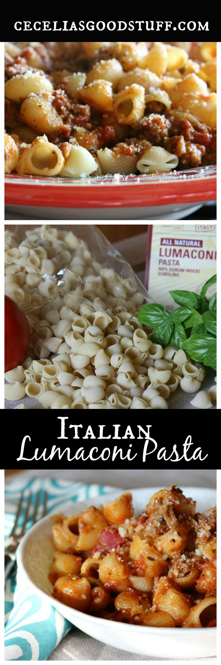 Italian Lumaconi Pasta with Sweet Italian Sausage - http://ceceliasgoodstuff.com/lumaconi-pasta-with-sweet-italian-sausage