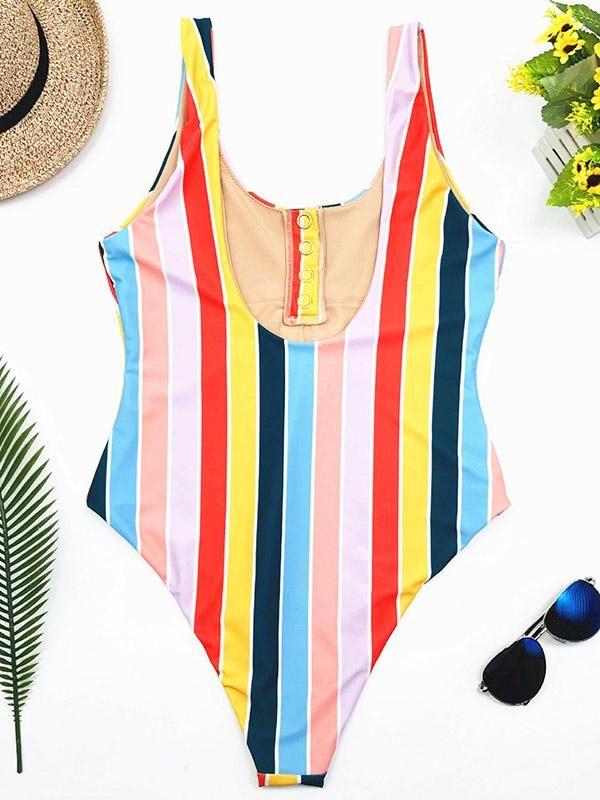 694358c85 Stripes High Waist One-piece Swimwear in 2019 | Beautiful | One ...