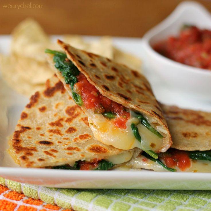 Spicy Spinach Quesadillas - wearychef.com
