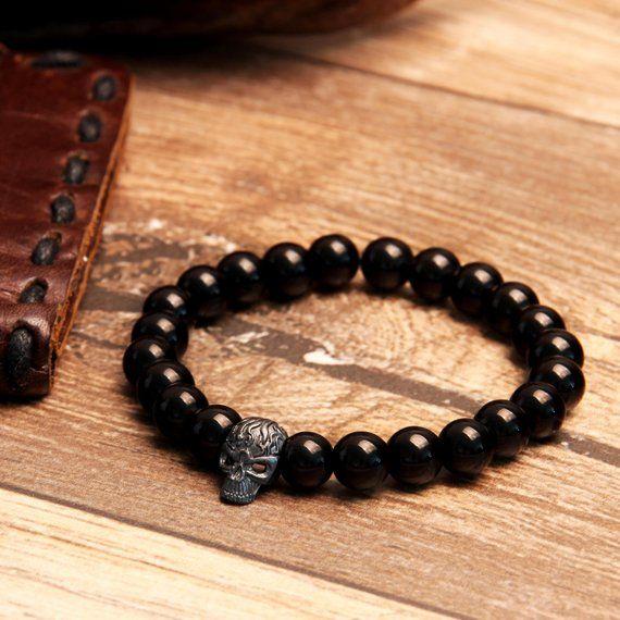 Men's Skull Bracelet, Men's Jewelry, Unisex Bracelet, Christmas Gift, Boyfriend Gift, Gift for Men, Skull Bracelet, Onyx Bracelet