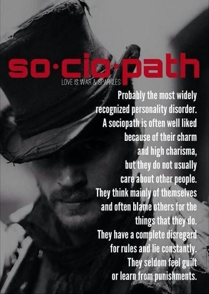 The Sociopath, also known as a psychopath or as having an anti-social personality disorder is a callous, remorseless, self-centered individual with no empathy.