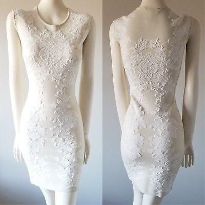 BCBG-Max-Azria-Ellena-Floral-Jacquard-Dress-Gardenia-Beige-Sleeveless-Bodycon-S