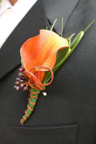 orange calla lily wedding flower boutonniere, groom boutonniere, groom flowers, add pic source on comment and we will update it. www.myfloweraffair.com can create this beautiful wedding flower look.