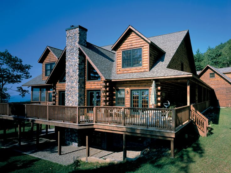 Hazelton rustic log home home log homes and full bath for Full wrap around porch log homes