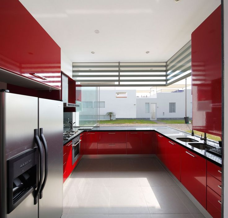 Kitchen : Contemporary Kitchen Red Color Themes Also Contemporary Home Decoration Idea With Sweet Red Wall Color Painted And Red Base Kitchen Cabinets Besides Stainless Steel Refrigerator Kitchen Decoration Design Kitchen In Color Themes Modern Kitchen Decoration for Home Part 3 Wooden Decoration. Cupboards. Wine Rack.