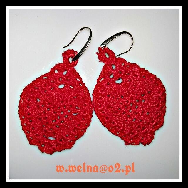 Red Earrings :)   http://welna.blog.onet.pl   #kolczyki #earrings #czerwień #red #prezent #gift #rękodzięło #crochet #handmade