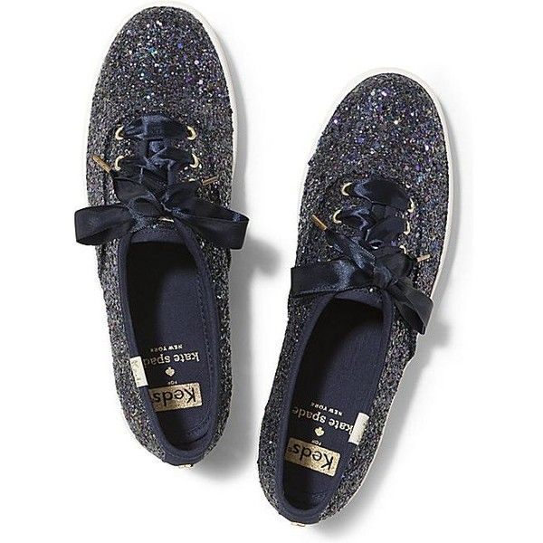 Keds x kate spade new york Champion Glitter ($80) ❤ liked on Polyvore featuring shoes, sneakers, multi navy glitter, keds shoes, keds sneakers, navy glitter shoes, striped shoes and polish shoes