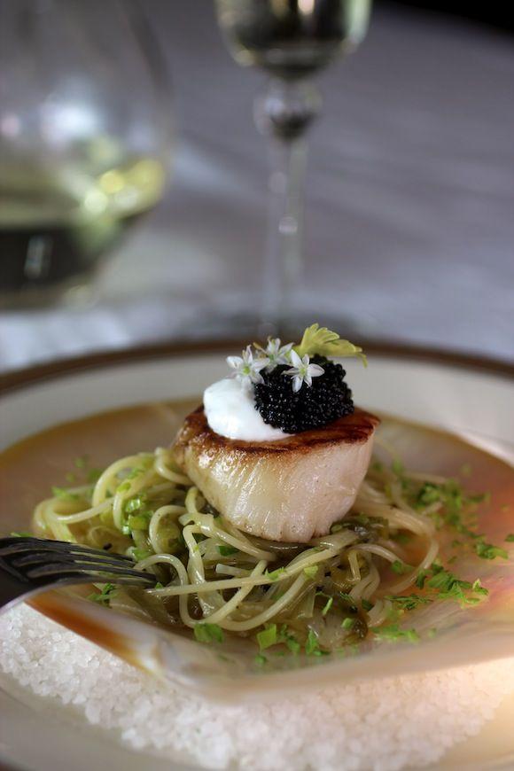 Scallop Melted Leek Pasta, Caviar, Lemon Creme Fraiche