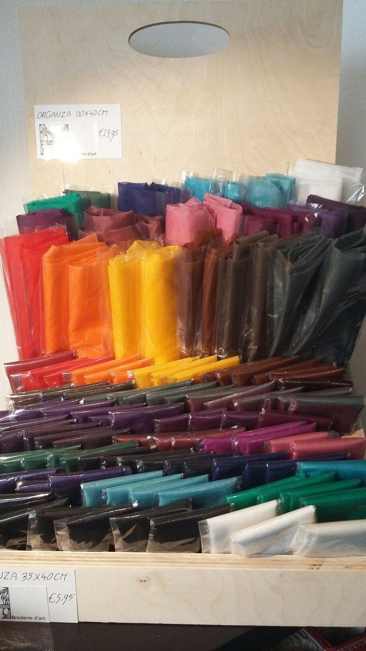 24 kleuren zijden organza voor broderie d'art