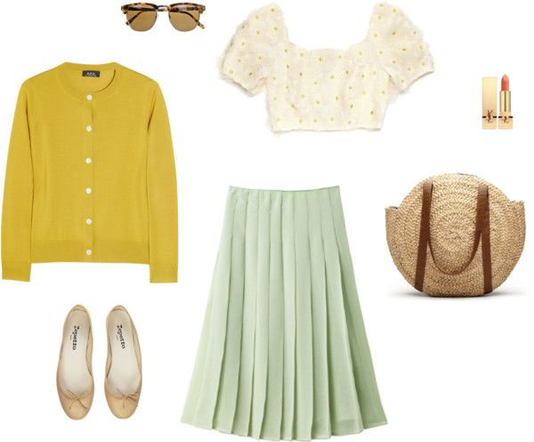 dream picnic. calivintage.com / pleated skirt + crop top + cardigan + flats + sunglasses