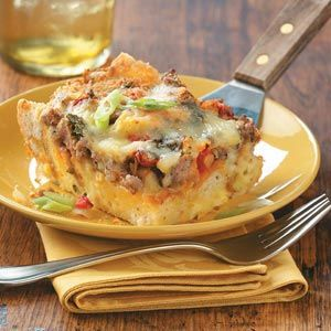 Mmm! I think I'll make this Brie and Sausage Brunch Bake Recipe for Christmas morning. Calorie-wise will substitute the whipping cream with 1% milk or fat free evaporated milk.