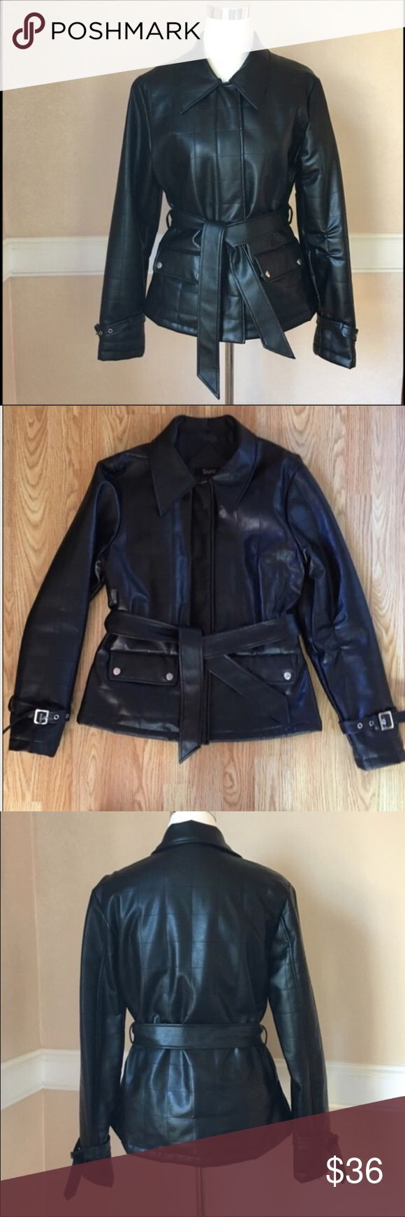 """Belted Faux leather jacket Women's black faux leather jacket. Quilt and stitch pattern. Zip-up with top and bottom snap closures. Detachable leather belt, 2 side snap pockets, adjustable silver metal buckles on sleeves for a perfect fit and added style. Approx. Measurements laying flat: length: 25"""" waist: 17.5"""" pit to pit: 19.5"""" Excellent condition Jackets & Coats"""