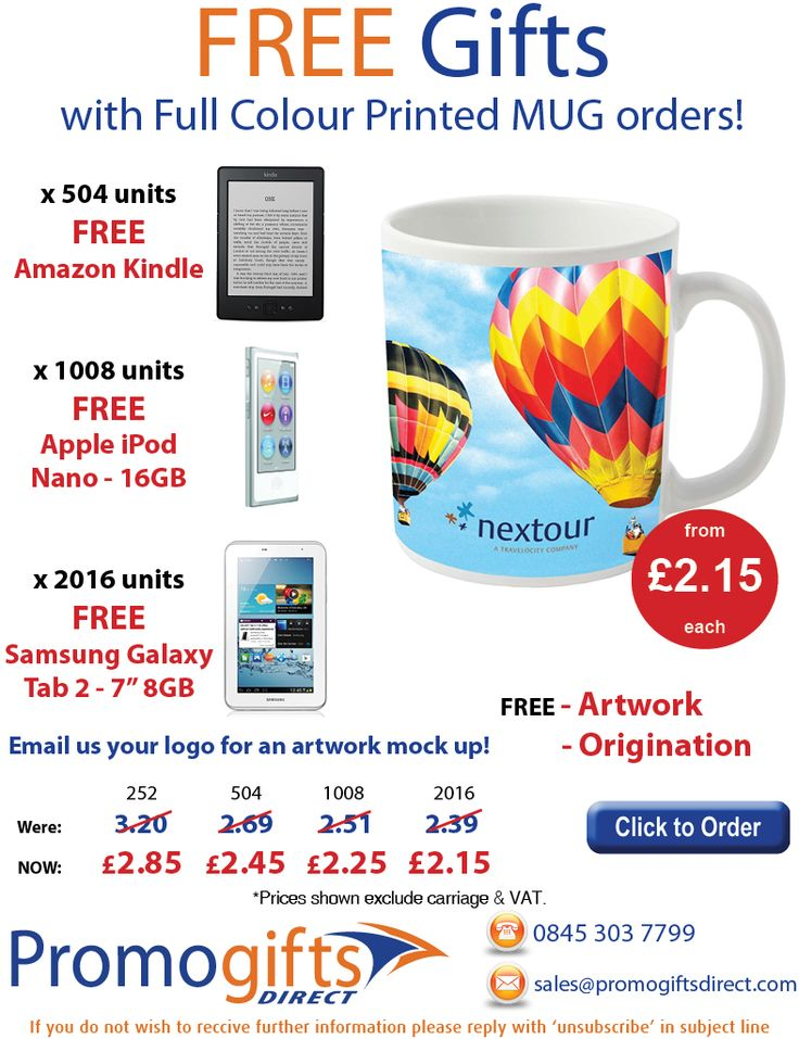 This week's special offer - FREE gifts when you order promotional mugs - sales@promogiftsdirect.com - www.promogiftsdirect.com