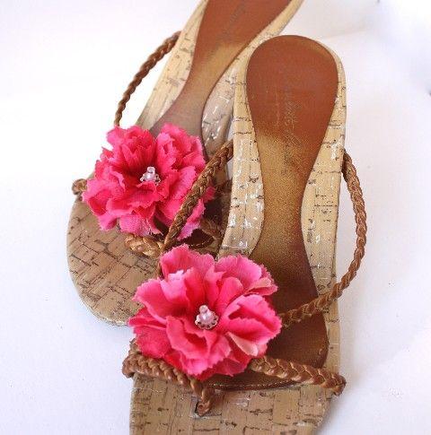 Flower Shoe Clips in Bright Pink Shoe Accessories by Lilywinkel, $14.00
