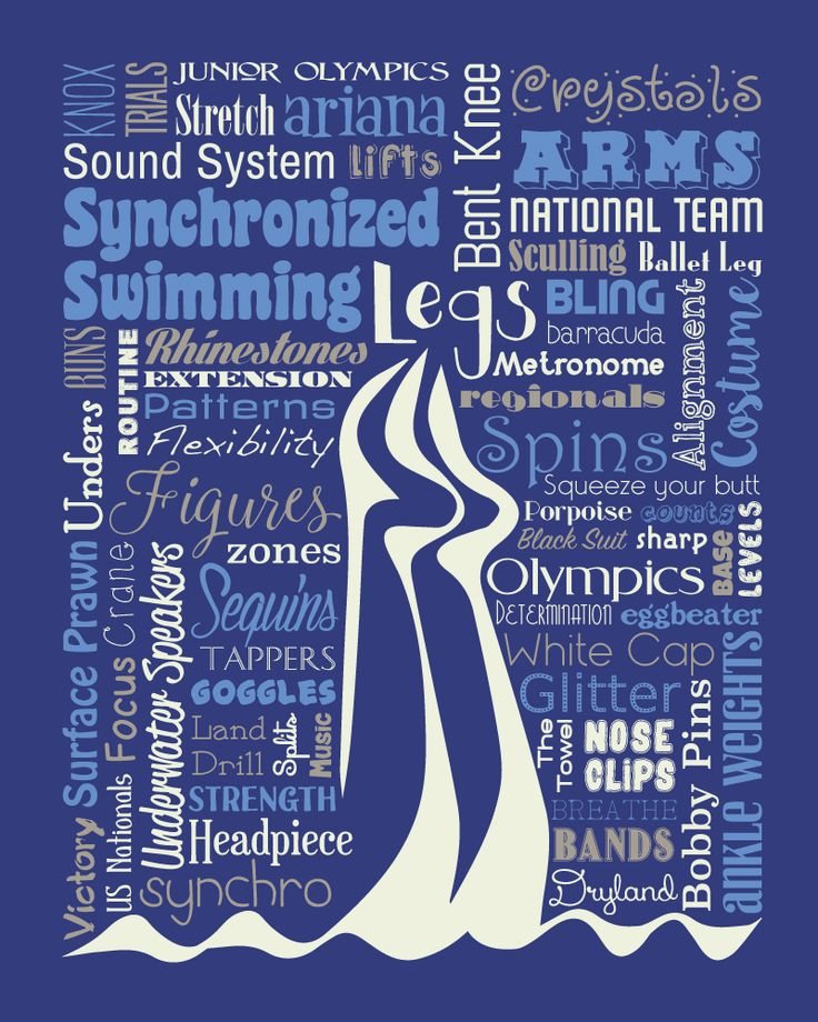 "Original artwork using words to describe ""Synchronized Swimming"" -- Dress up a room in your home with this sports-themed print that details the many words for all things synchro like goggles, sculling, swimming pool, and more. Come visit the Lexicon Delight Etsy store!"