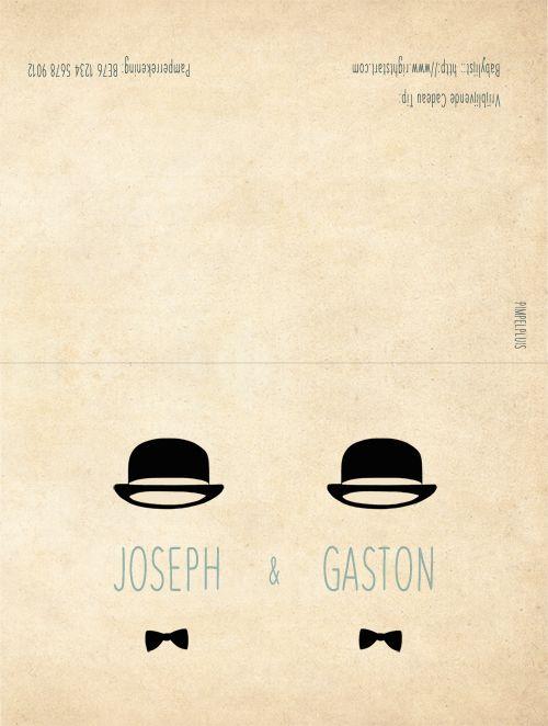 Geboortekaartje tweeling - Joseph en Gaston - dubbel kaartje - voorkant en achterkant - Pimpelpluis - https://www.facebook.com/pages/Pimpelpluis/188675421305550?ref=hl (# vintage - retro - eenvoudig - silhouet - strik - hoedje - hoed - origineel)