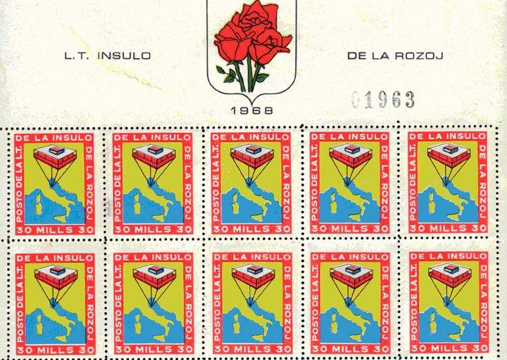 "Sheet of 10 ""Isola Delle Rose"" stamps, Giorgio Rosa, 1968 © Photo Giorgio Rosa"