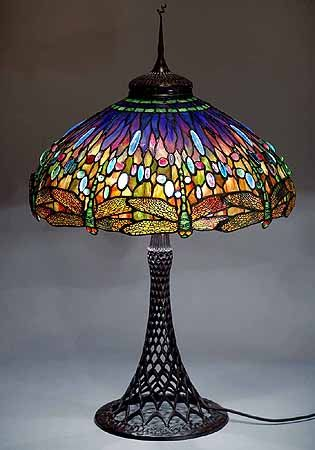 "Original Tiffany Lamps | The 22"" Dragonfly Tiffany laded glass lamp on a Bronze Junior floor ..."