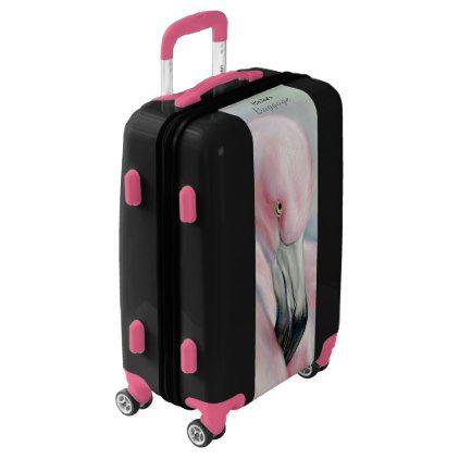 Pink Flamingo Pastel Art Personalized Luggage - accessories accessory gift idea stylish unique custom