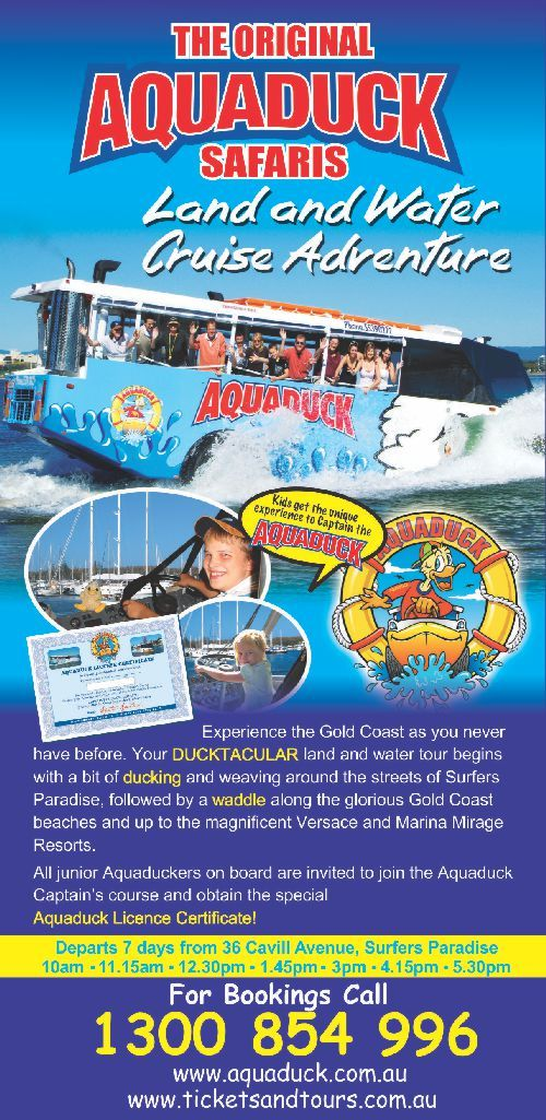 Experience the Gold Coast as you never have before! Your Ducktacular land and water tour begins with a bit of ducking and weaving around the streets of Surfers Paradise, followed by a waddle along the glorious Gold Coast beaches   Book your tickets now http://ticketsandtours.com.au/travel/aquaduck/