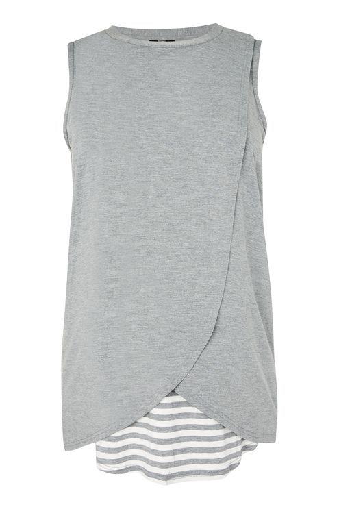 MATERNITY Drape Sleeveless Stripe Nursing T-Shirt