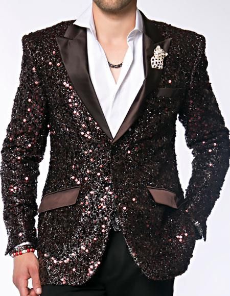 1516a9b9 Shine like a star with Angelino brand mens sequin paisley dinner jacket  available in brown color.
