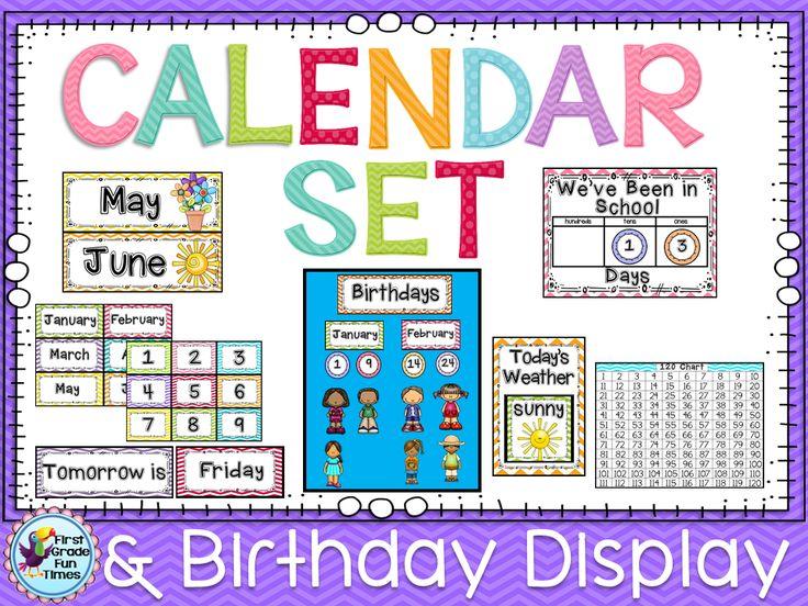 Birthday Calendar In Kindergarten : Calendar classroom decor in chevron editable with bonus