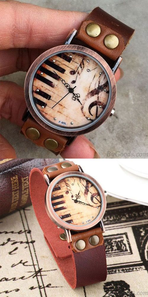 Order this handmade piano watch to my sister. She love music very much. #Handmade #Piano #Music #Retro #Leather #Watch #gift