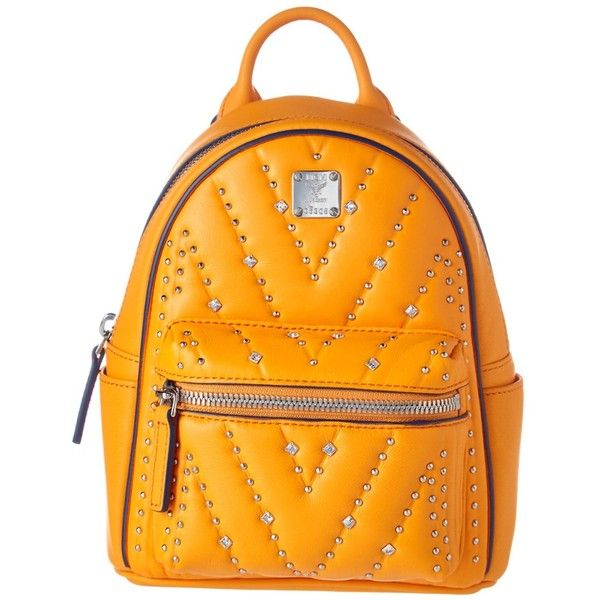 Mcm Mcm Diamond Disco X-Mini Studded Leather Backpack | Bluefly.Com ($645) ❤ liked on Polyvore featuring bags, backpacks, handbags, yellow, top handle bags, mini bags, studded backpack, miniature backpack and orange backpack