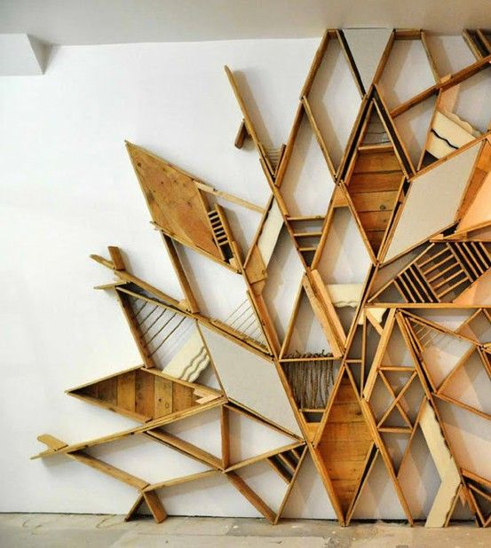 real wall art: Wall Art, Pallets Wall, Books Shelves, Wood Design, Art Installations, Wood Shelves, Christopher Bettig, Wood Wall, Wall Design