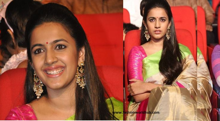 Niharika Konidela @ the audio lauch of her movie oka manasu. She is wearing a gold traditinal silk saree with a combination of Gold, pink and green with elbow length sleeve blouse. She is looking g…