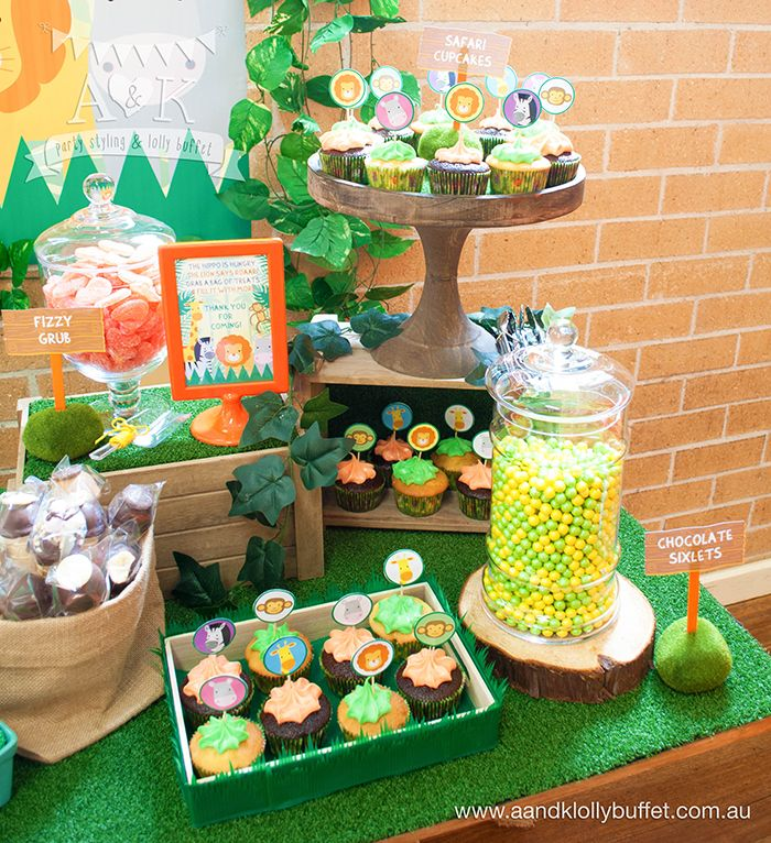 Birthday Party Buffet Table: 17 Best Images About A&K Lolly Buffet {Jungle Safari 1st