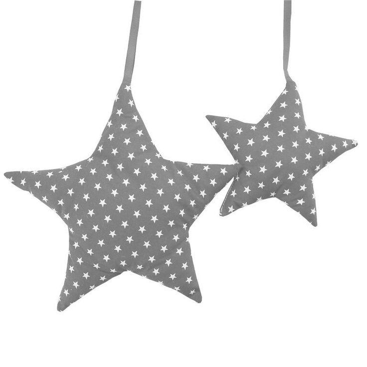 Zauberhafte Deko Sterne, 2er Set, grau Sterne weiß, 100% Baumwolle, von sugarapple