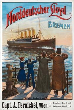 Ca. 1905 ad poster for the Norddeutscher-Lloyd line's flagship MS Bremen, named for the company's home port. This ship brought my great grandparents to Ellis Island. Several years later, in 1912, she would pass through the Titanic debris field just days after the sinking.