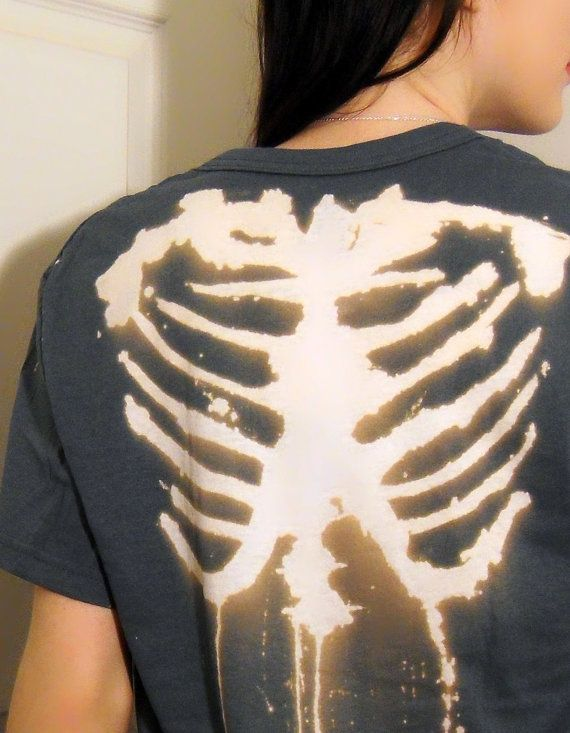 gray bleached skeleton rib t-shirt ^^ zazumi.com