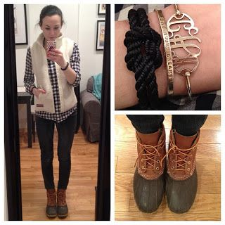 Now's the Time for Bean Boots- I love mine from Sperry's . Great fall outfit idea.