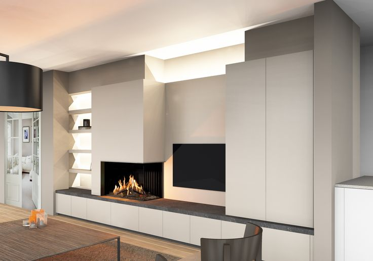 Gashaard Kal Fire Eco Prestige, ingebouwd in een moderne kastenwand met de TV ge u00efntegreerd  De