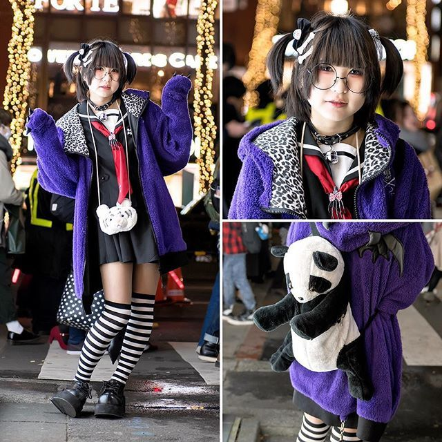 15-year-old Japanese student Lemon (@REMON1103) on the street in Harajuku wearing a Super Lovers monster hoodie over a sailor dress, striped socks, Demonia platforms, and a plush panda backpack from ACDC Rag Harajuku.