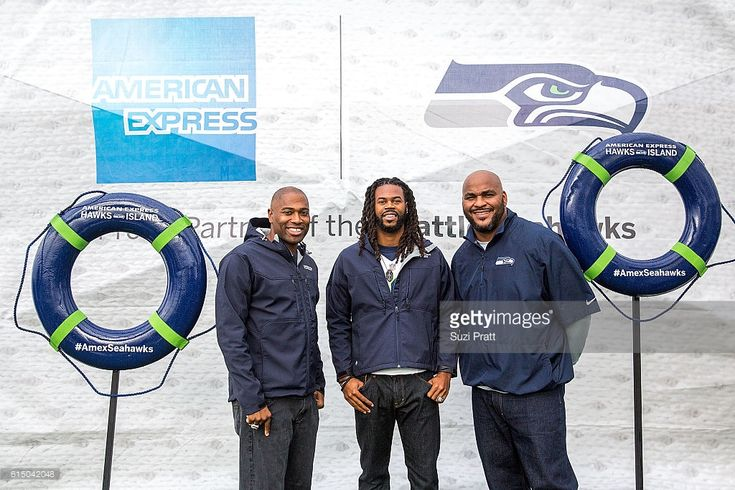 Seattle Seahawks legends Shaun Alexander, Sidney Rice and Walter Jones greet fans during American Express Hawks Island on the Puget Sound on October 16, 2016 in Seattle, Washington.