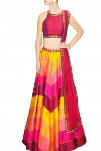 Priyal Prakash - Yellow, hot pink and magenta sequins embroidered lehengas set - Nice website