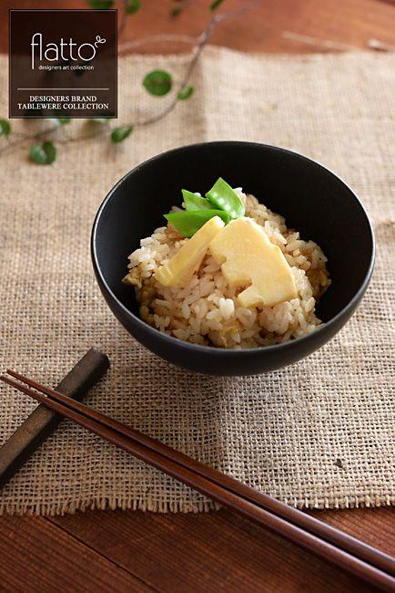 ■■ 料理:たけのこご飯■■ 和食器:黒釉めし碗(大)■■ 作家:木下和美